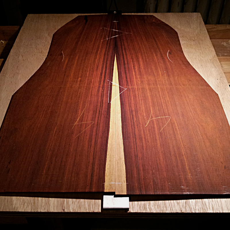 Cocobolo back joint preparations for an OM acoustic