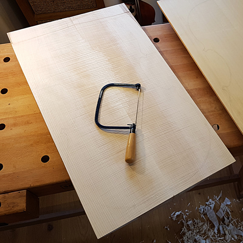 I didn't actually use my coping saw to cut the outline of the back out... perfect job for the bandsaw!
