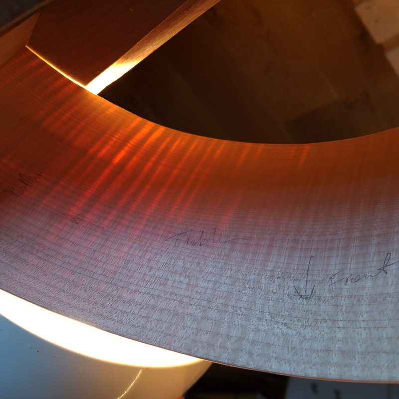Using light behind the ribs which have been thicknessed perfectly shows the sharp changes in density which makes bending extremely tricky!